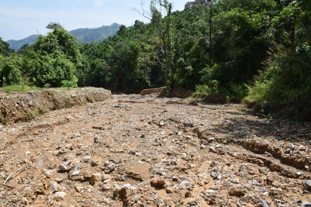 A creek destroyed by waste from the mine operated by Eastern Mining Company in Dawei Township, seen on May 10, 2017. (Ben Hardman | Frontier)