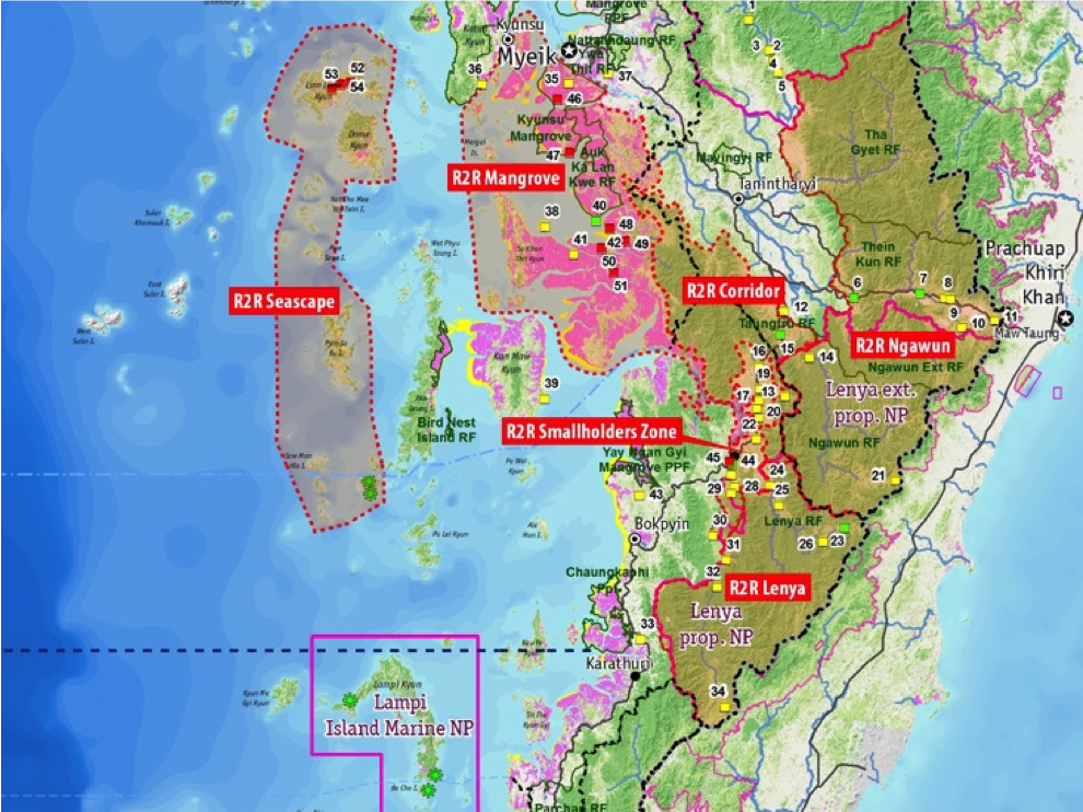 Ridge to Reef is a US$21 million conservation mega-project that seeks to transform 3.4 million acres, or 35 percent of Tanintharyi Region's land cover, into conservation zones. (Project map)
