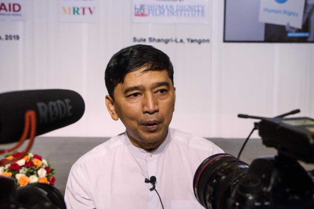 Min Ko Naing, a veteran democracy activist and friend of U Min Htin Ko Ko Gyi's, talks to reporters at a screening of 30 short films by the filmmaker in Yangon on June 4. (Thuya Zaw | Frontier)