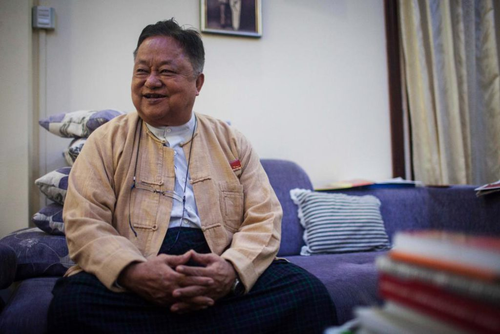 National League for Democracy patron U Win Htein, seen here on July 19, 2020, was arrested just after midnight on February 5.