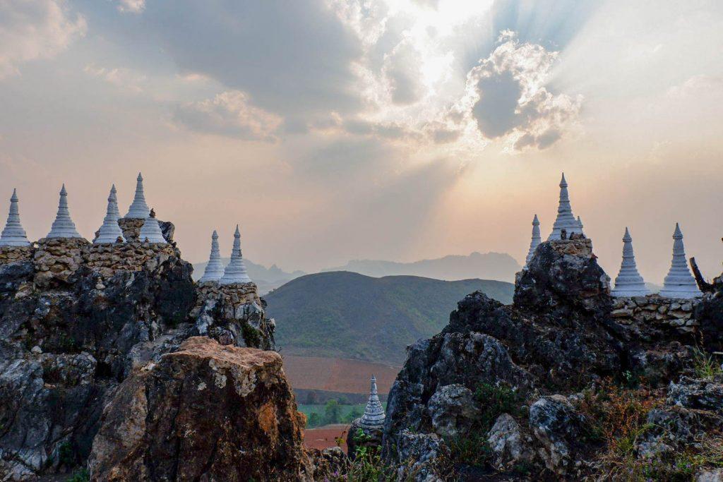 Sunset at Main Ma Ye Tha Khin Ma Mountain. (Dominic Horner | Frontier)