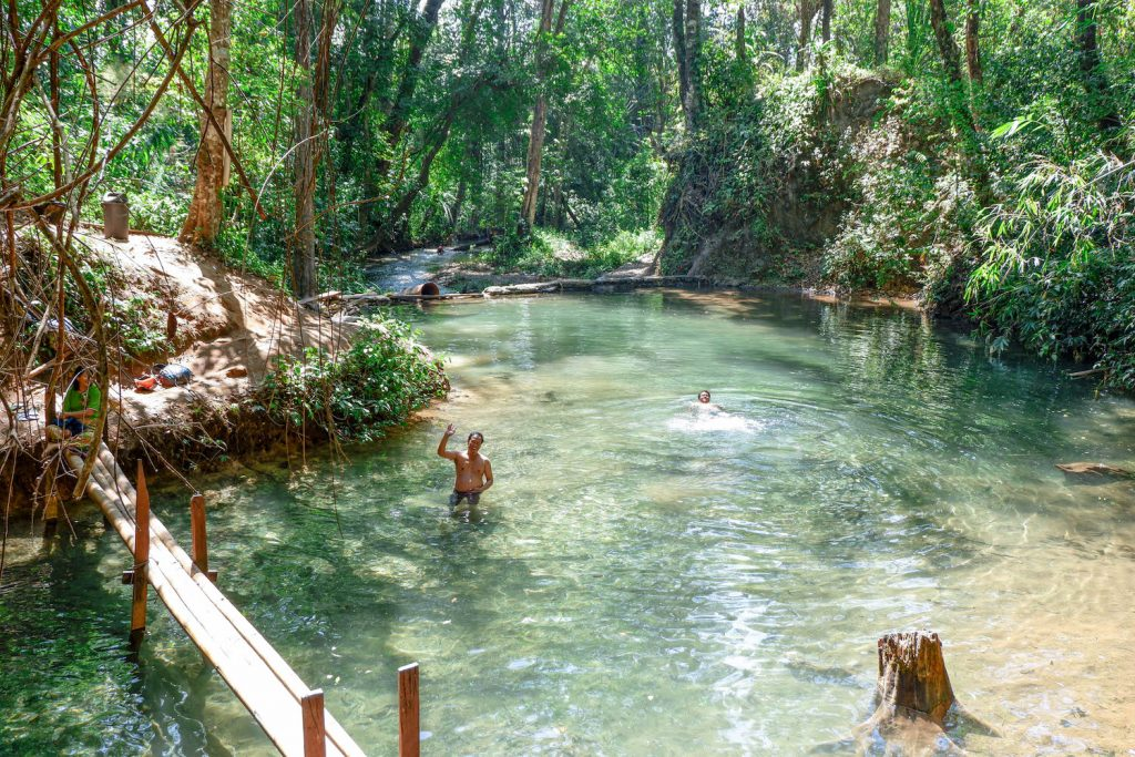 Swimming at Taw Kyal Waterfall (Dominic Horner | Frontier)