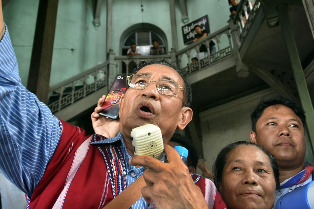 Padoh Mahn Nyein Maung attends a demonstration on October 2, 2019 in central Yangon to protest the arrest and jailing of prominent Karen activist Naw Ohn Hla and two Karen youth activists for organising an unauthorised ceremony to mark Karen Martyrs' Day. (Steve Tickner | Frontier)