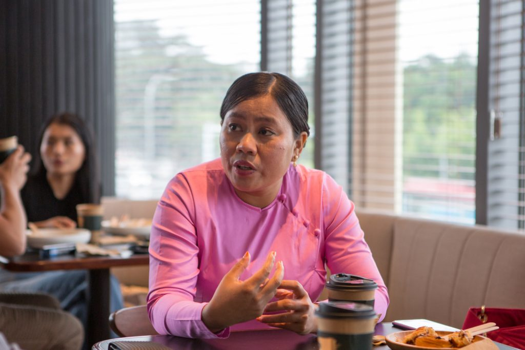 Daw Htoot May, who will compete to be the Rakhine ethnic affairs minister for Yangon Region as an independent candidate, speaks to Frontier on August 5. (Thuya Zaw | Frontier)