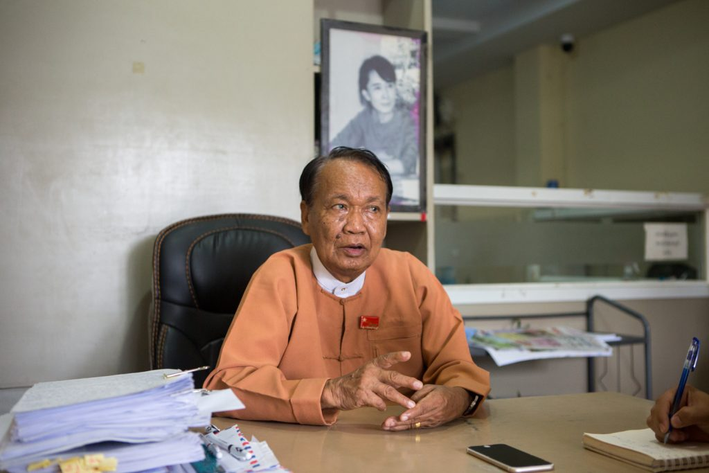 Monywa U Aung Shin, secretary of the NLD's Central Information Committee, speaks to Frontier in Yangon on August 3. (Thuya Zaw   Frontier)