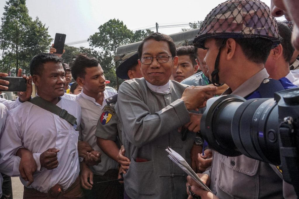 Arakan Front Party chief Dr Aye Maung, now serving a 20-year sentence for high treason, attends a hearing at the Sittwe District Court on March 7, 2018. (AFP)