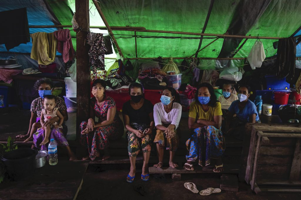Rakhine IDPs rest in a temporary shelter at the Shitthaung IDP camp in Mrauk U on August 20. (Hkun Lat | Frontier)