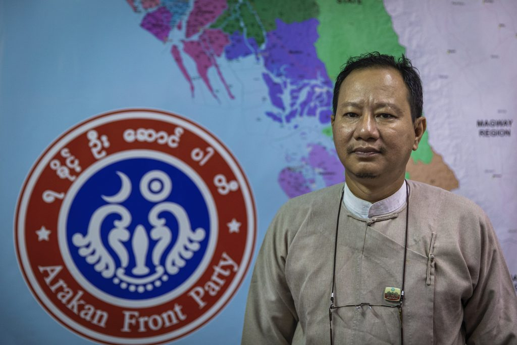 """Arakan Front Party vice chair U Kyaw Zaw Oo says """"Rakhine people have lost faith in the political system."""" (Hkun Lat 