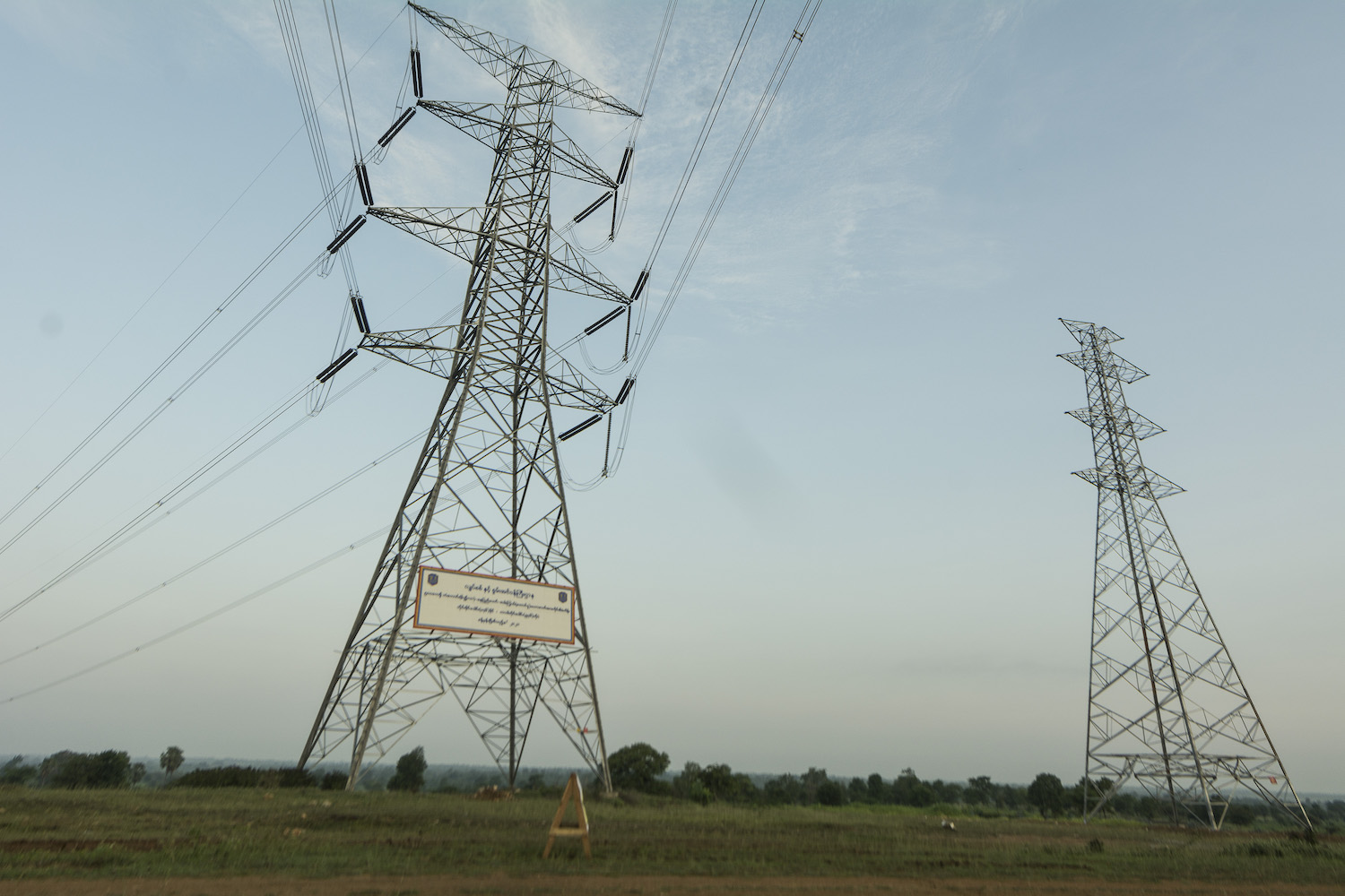 A 500 kilovolt transmission line at Meiktila in Mandalay Region. Most of the 30 proposed solar power projects are in central Myanmar, where solar irradiance is high. (Teza Hlaing | Frontier)