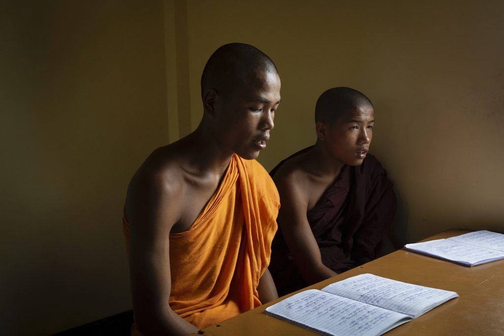 Novice monks attend an informal tuition class in Aung Myay Thar Yar monastery in Kyaukme Township, Shan State, on August 6. Like other monastic schools, Aung Myay Thar Yar has been unable to resume formal lessons because of COVID-19. (Hkun Lat | Frontier)
