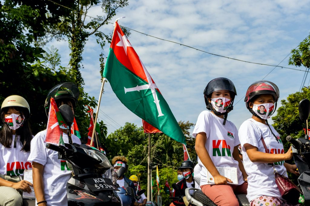 Kachin National Congress party supporters rally in Myitkyina on August 25. (Hkun Lat)