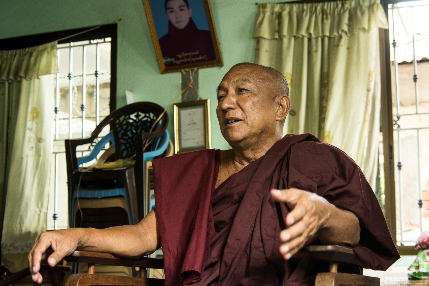 "U Kawira, known as Galoneni Sayadaw, told Frontier at the Ngwe Ngar monastery in Mandalay of how he was ""arrested, disrobed and sentenced to death by a military court"" for his part in the 1988 uprising. (Teza Hlaing 