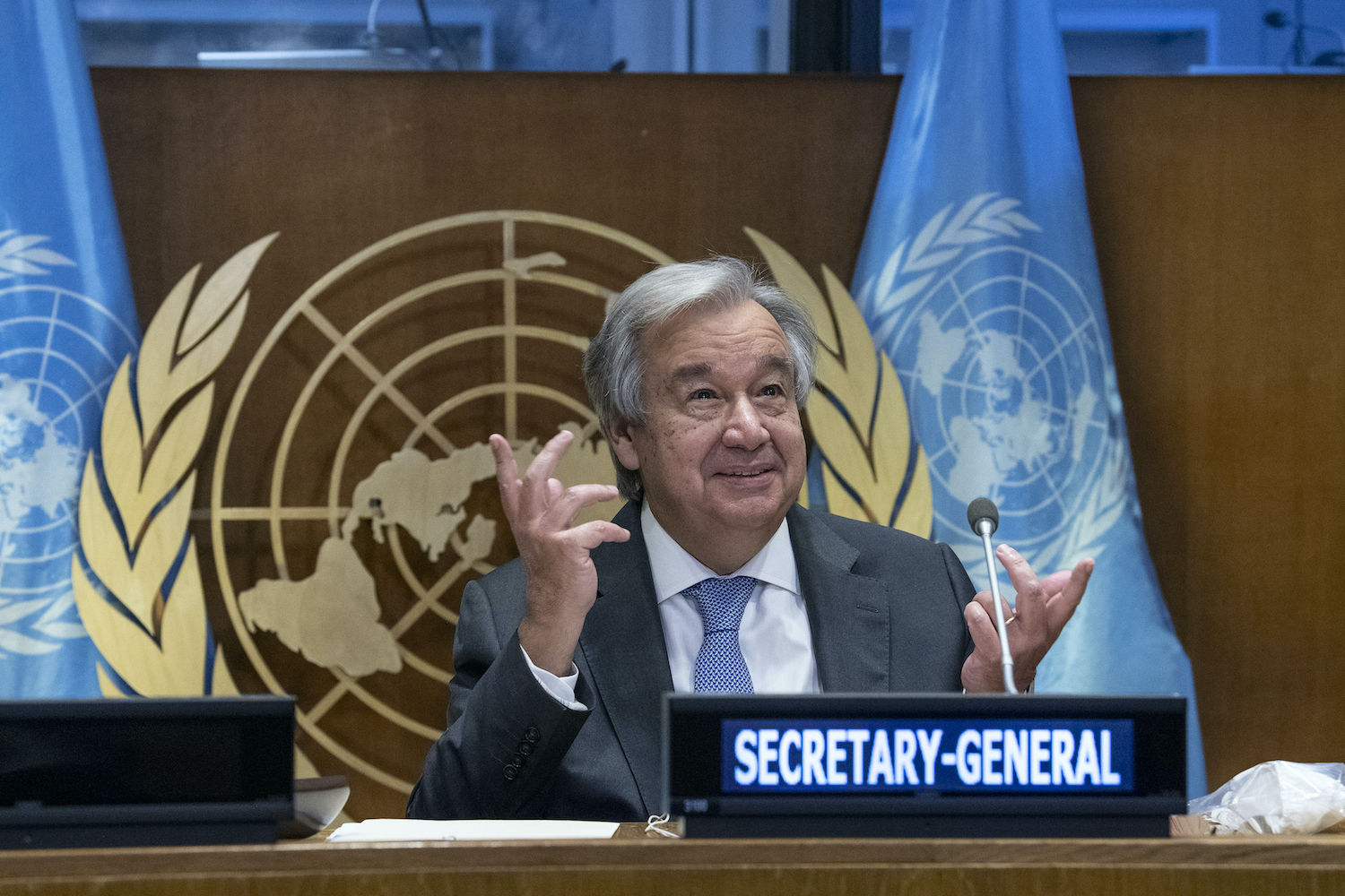 UN Secretary General Antonio Guterres at the 75th session of the United Nations General Assembly on September 29, 2020. (AFP)