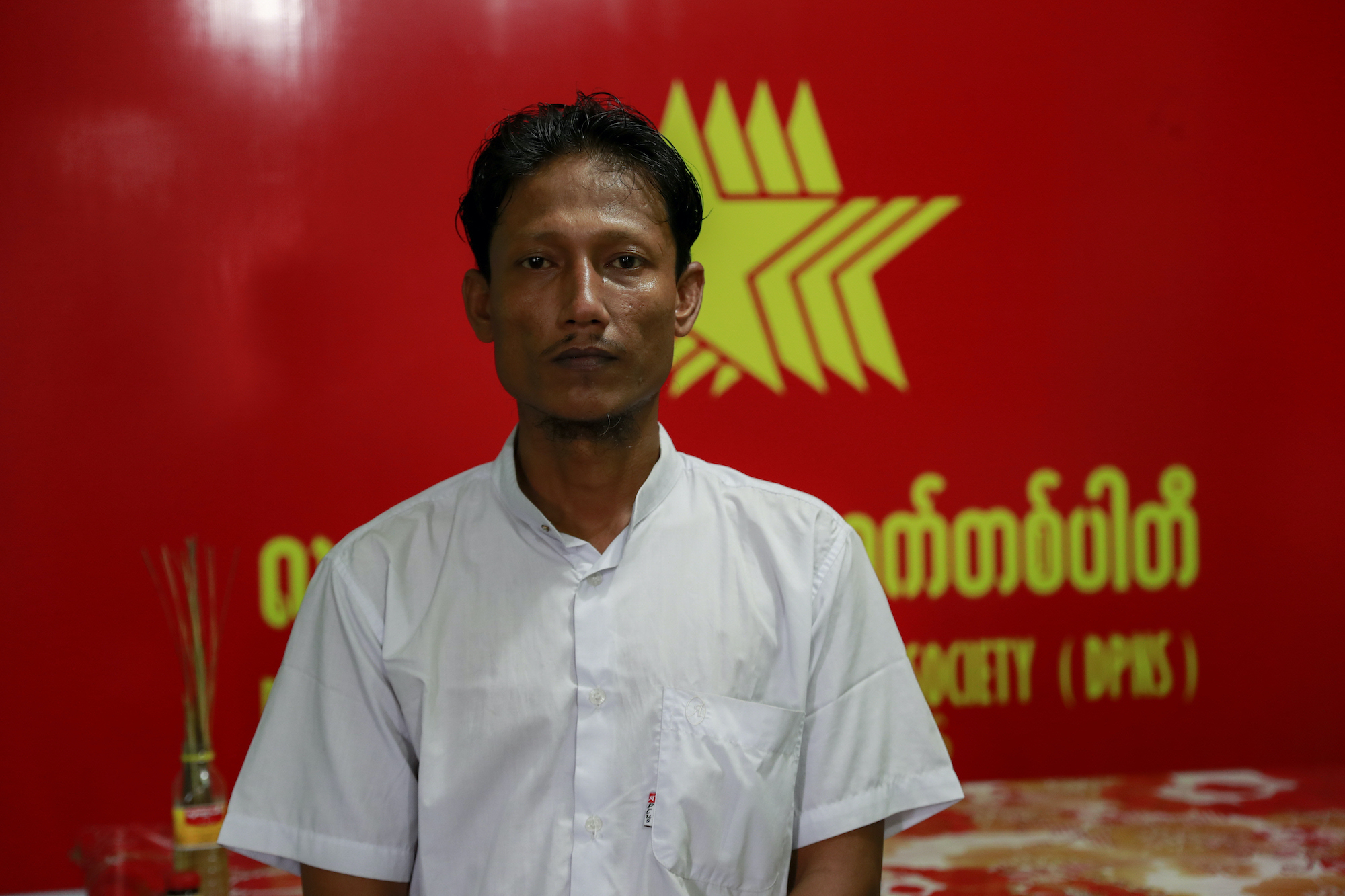 U Hla Win was disqualified mid-campaign while running for a Yangon regional parliament seat for the Democratic Party for a New Society. He is part of a slew of late disqualifications made on the basis of a discriminatory legal framework for determining citizenship in Myanmar. (Nyein Su Wai Kyaw Soe | Frontier)