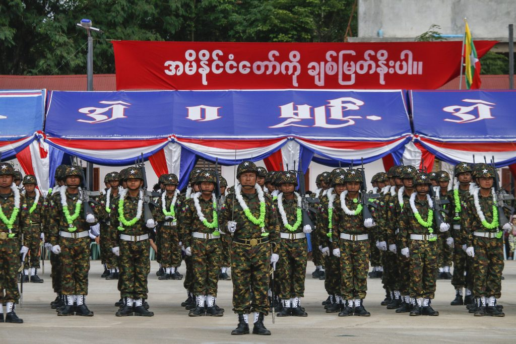 Soldiers from the Kayin State Border Guard Force parade a ceremony in August 2019. (Nyein Su Wai Kyaw Soe | Frontier)