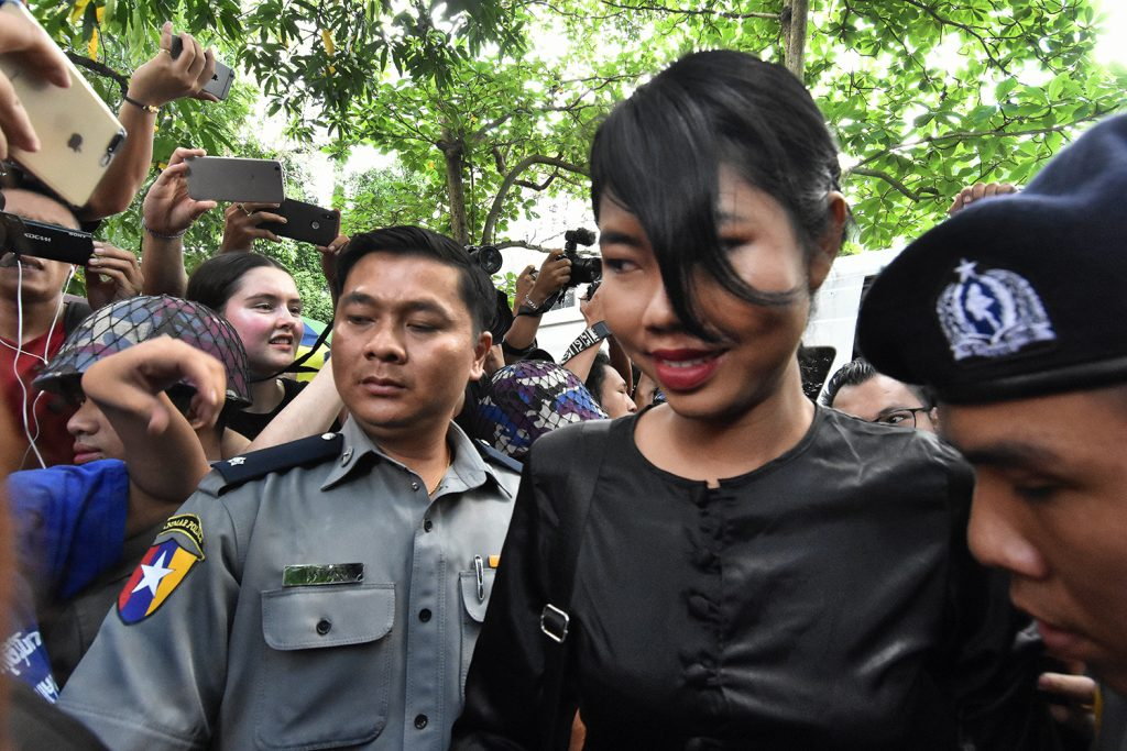 Peacock Generation member Ma Kay Khaing Tun leaves court on October 30, 2019, after being sentenced to one year imprisonment for a traditional 'thangyat' performance. (Steve Tickner | Frontier)
