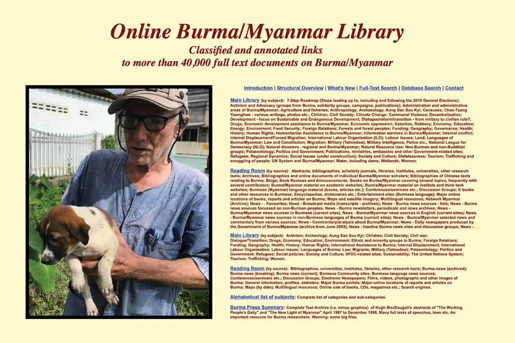 Mr David Arnott, who founded the Online Burma Library in 2001 and spent two decades turning it into the largest online collection of material about the country, died in Mae Sot, Thailand, on December 7, aged 77. (Supplied)