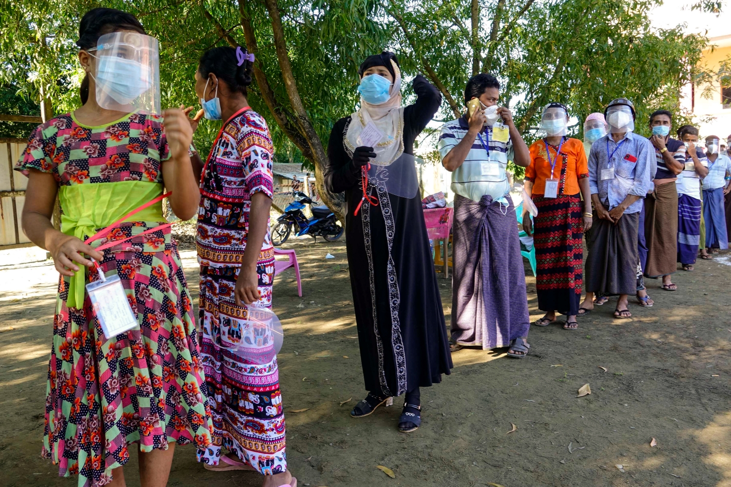 Voters queue to cast their ballots in the Rakhine State capital Sittwe, where voting went ahead on November 8 while most of the state was excluded. (AFP)