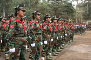TNLA soldiers at a ceremony to mark the 58th anniversary of Revolution Day on January 12.