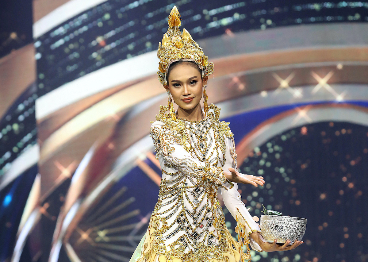This handout photo taken on March 24 and released by the Miss Grand International beauty pageant on March 25 shows Miss Grand International contestant Han Lay taking part in the national costume part of the contest in Bangkok. (Miss Grand International/AFP)