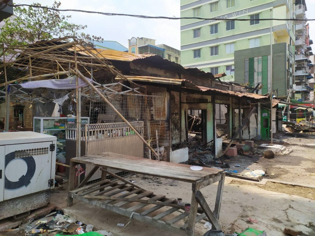 A row of burned-out buildings in Yangon's Dawbon Township, including a ward administration office. (Frontier)