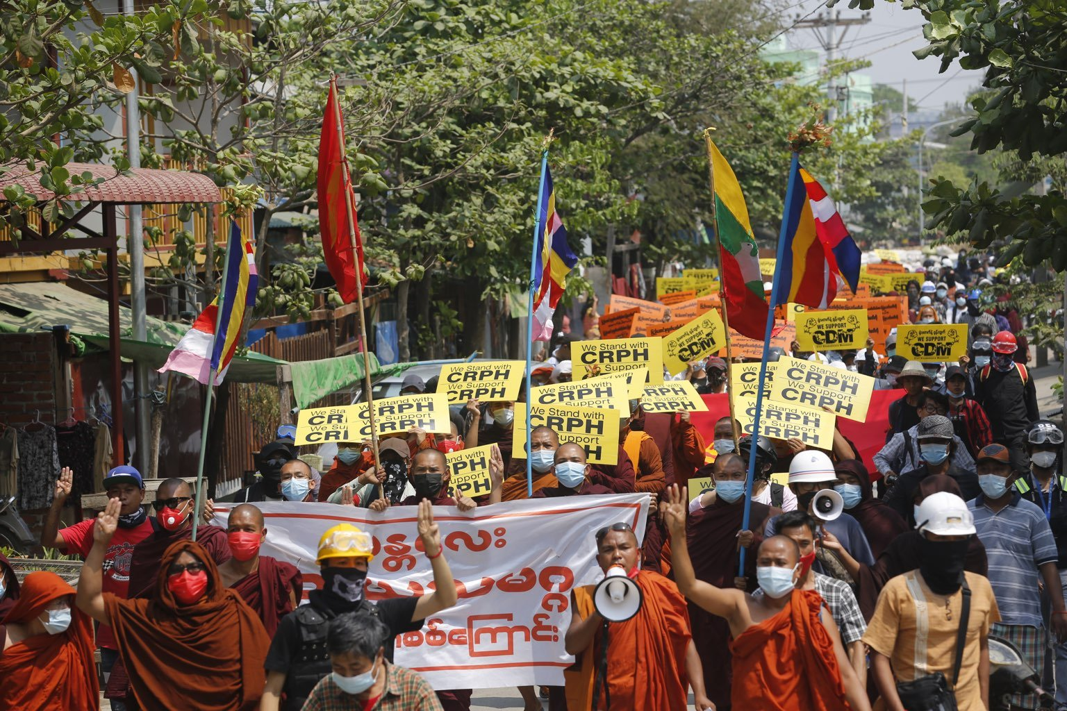 The Mya Taung protest march has been held daily since February 8. (Frontier)