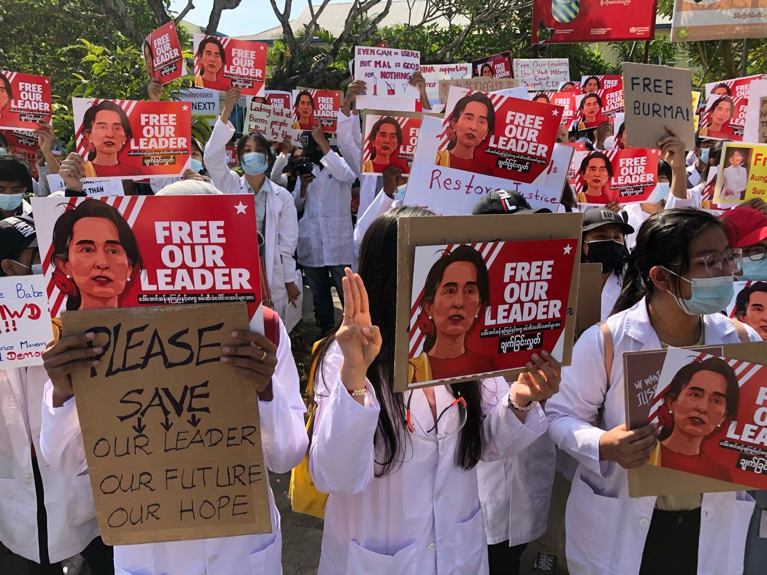 Health workers protest against military rule in front of the Chinese embassy in Yangon on February 12. (Frontier)