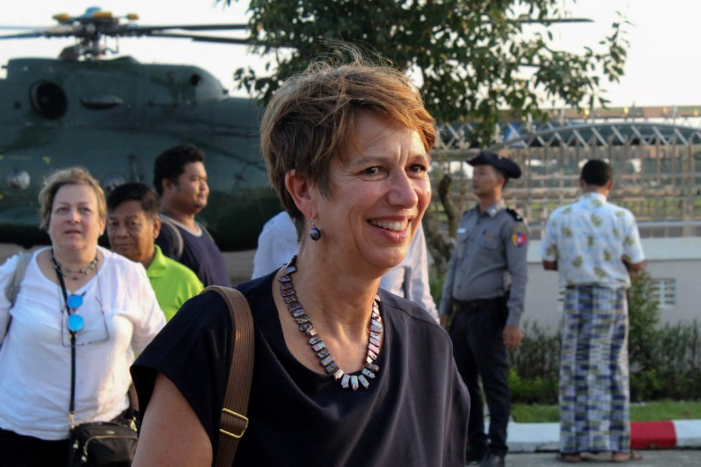 UN Special Envoy for Myanmar Christine Schraner Burgener arrives at Sittwe airport on a visit to Rakhine State on October 15, 2018. (AFP)