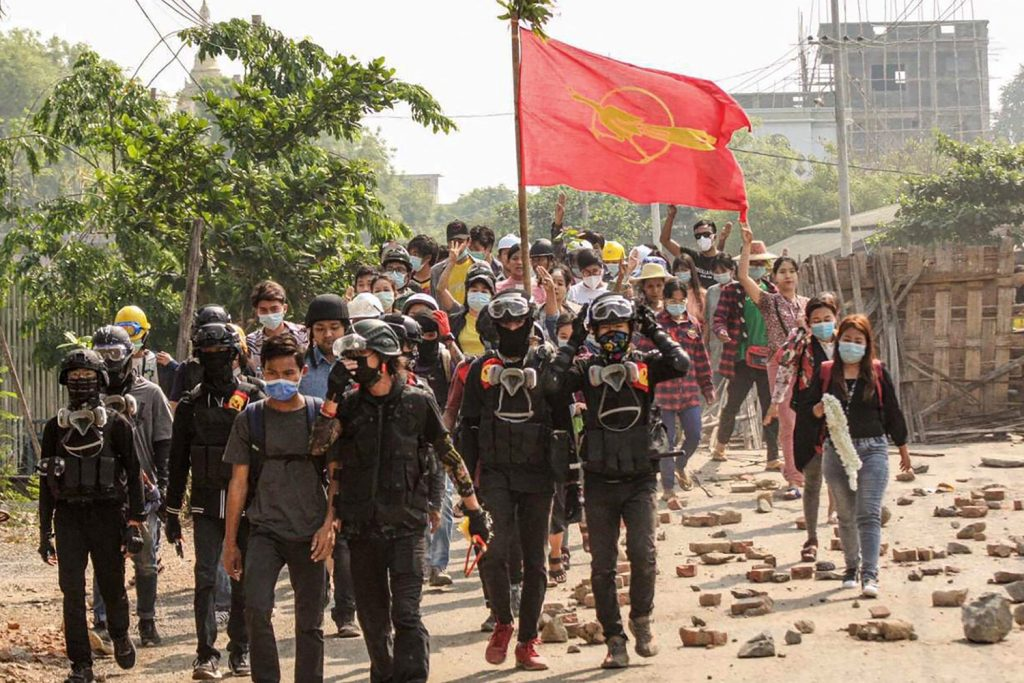 Residents of the Sagaing Region capital Monywa demonstrate against military rule on April 3. (Facebook / AFP)