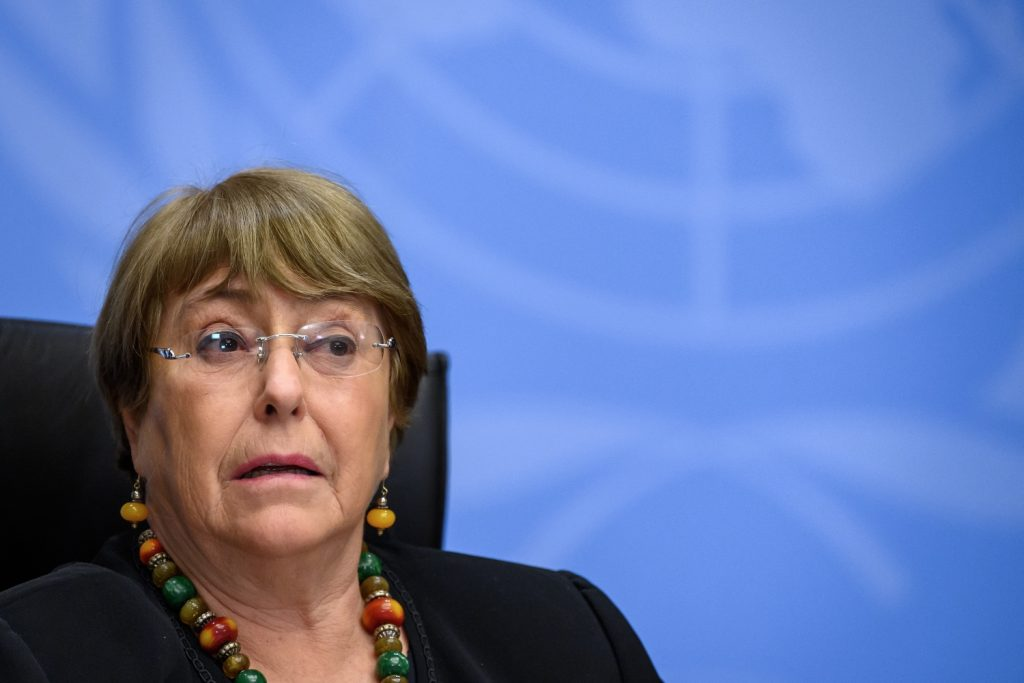 UN High Commissioner for Human Rights Michelle Bachelet looks on as she attends a press conference in Geneva. (AFP)