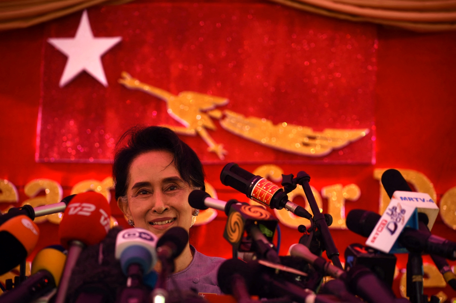 National League for Democracy chair Daw Aung San Suu Kyi speaks at a press conference at her Yangon residence on November 5, 2015, just says before a general election that the NLD won in a landslide – a result echoed by last year's vote. (AFP)