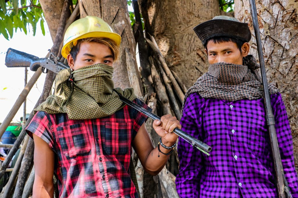 Members of a local civilian defence force in Kani Township, Sagaing Region. (Frontier)