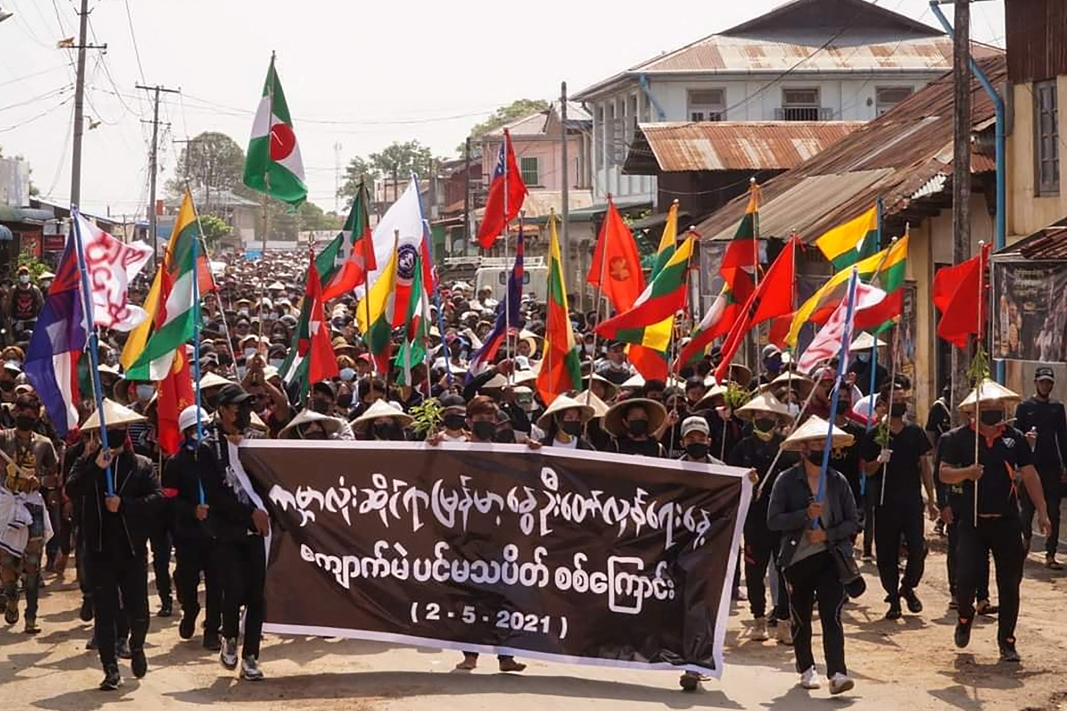 Protesters in Kyaukme, northern Shan State march for