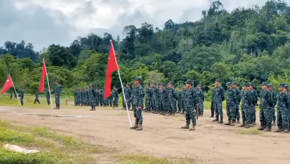A screenshot of a video uploaded to Facebook on May 28 that purports to show the first batch of trained fighters from the People's Defence Force, a national resistance army formed by the National Unity Government.