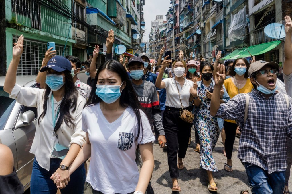 Many of the women that have been detained by security forces were arrested for peacefully protesting, as seen here in Yangon's Sanchaung Township on April 27. (AFP)