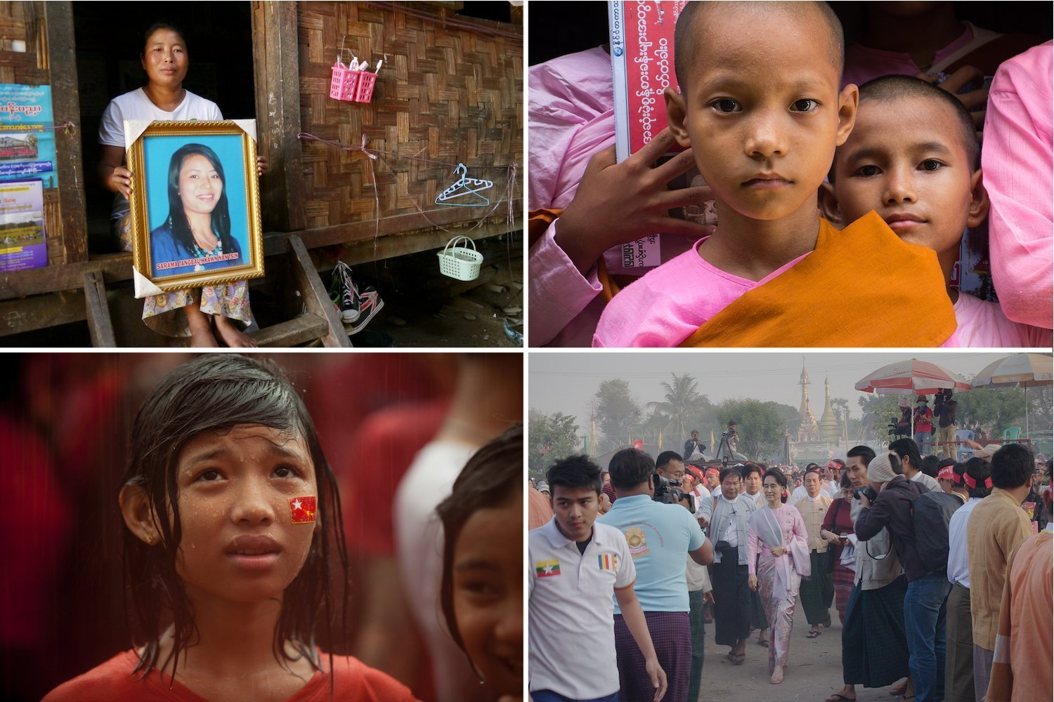 Stills from the films Mother, Daughter Sister; 1,000 Mothers; Vote; and Burma VJ