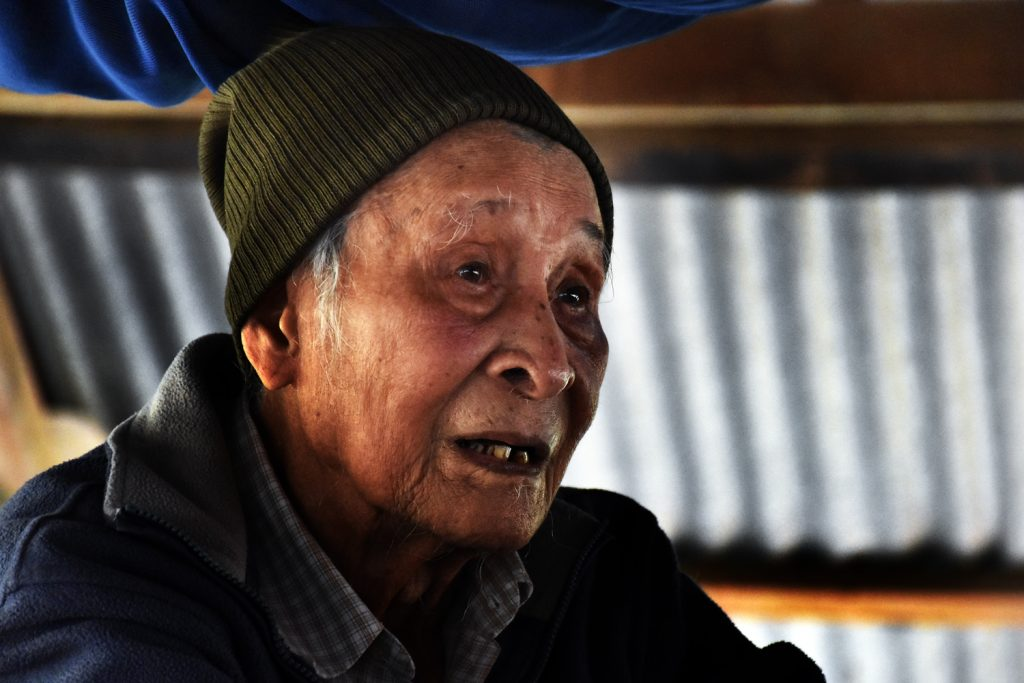 """Ninety-six year old Saw Maung Tin says he """"will never forget the blood and the sound of villagers crying"""" during the massacre in his village of Kyoe Kone 72 years ago. (Frontier)"""