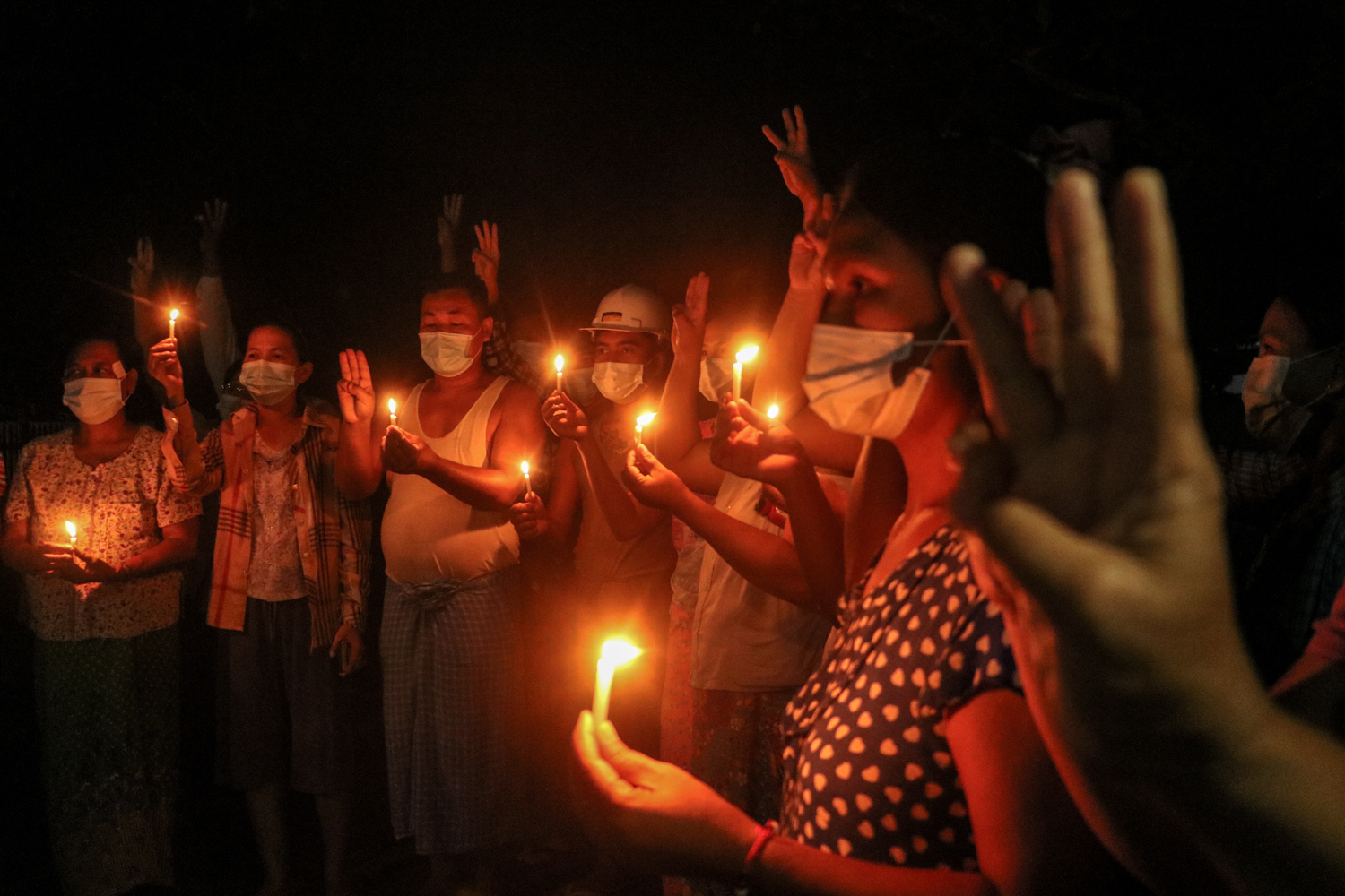 Residents of Aung Chan Thar ward in Monywa gather for an evening protest against the military regime in early May. (Frontier)