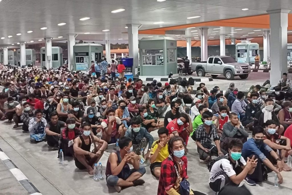 Workers wait at a shelter in Mae Sot, Thailand, for the chance to return home after Myanmar's military regime closed the border on June 1. (Supplied)