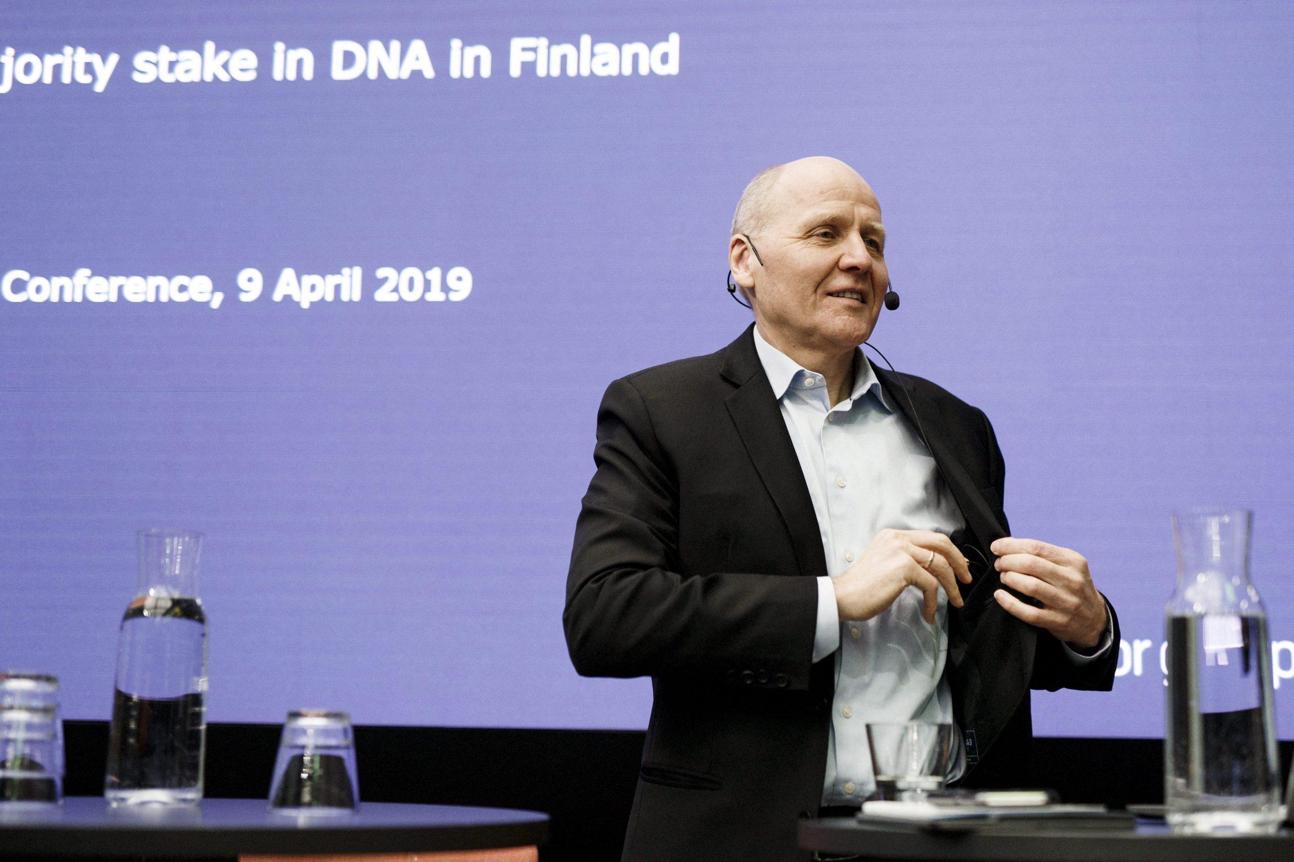 Mr Sigve Brekke, CEO of Telenor, talks at a press conference in April 2019. (AFP)