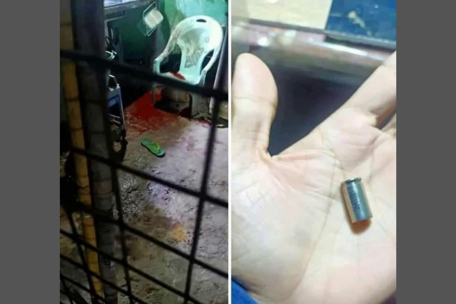 Compilation of U Khin Kyaw's home in Yangon after he was shot on July 5 and a neighbor holding up a bullet found in the home. (Supplied)