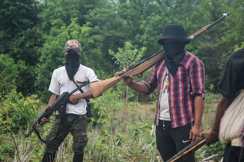 Members of the Southern Pauk Guerrilla Force guard their temporary jungle camp in southern Pauk Township. (Frontier)