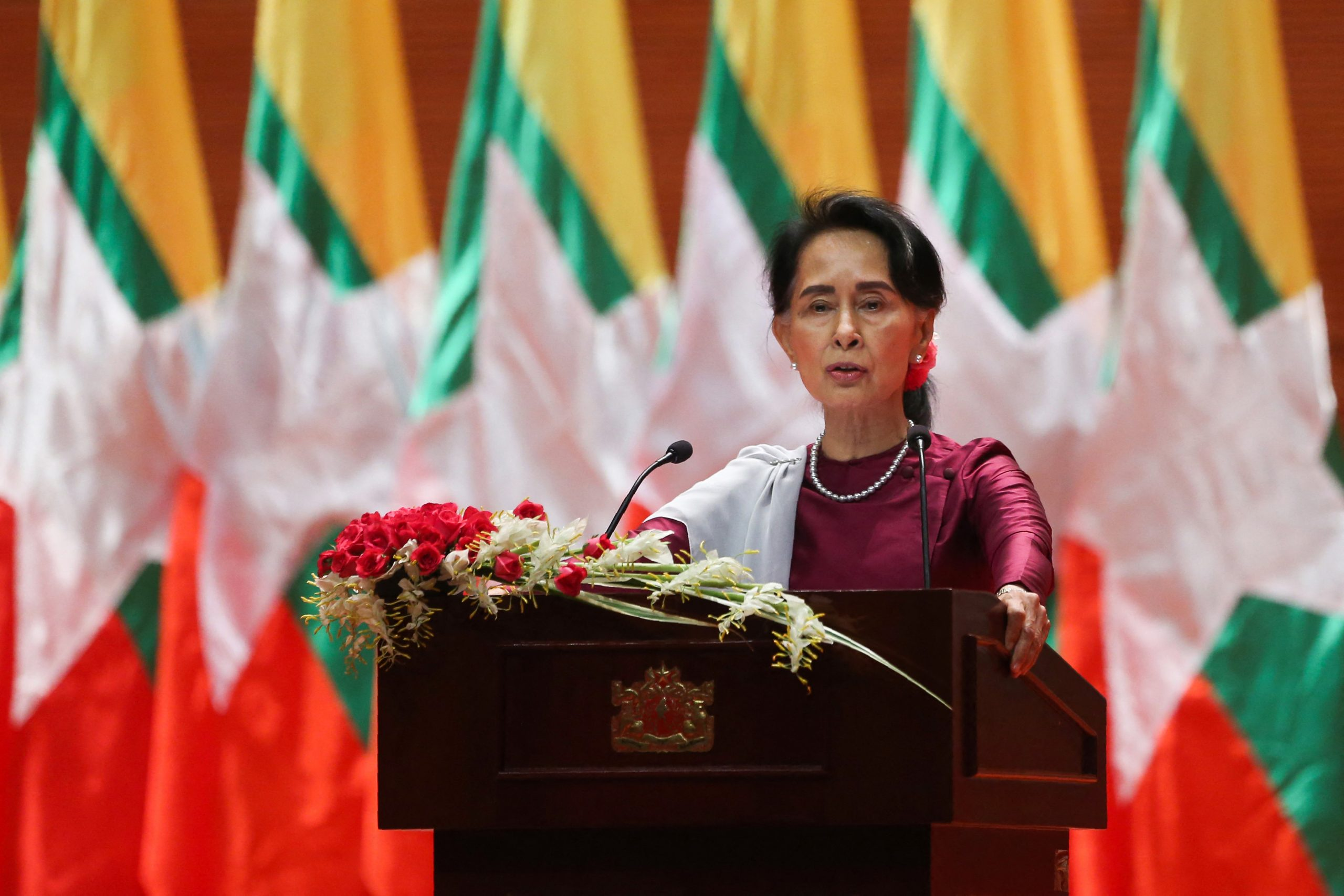 Myanmar's State Counsellor Aung San Suu Kyi delivers a national address in Naypyidaw on September 19, 2017. (AFP)