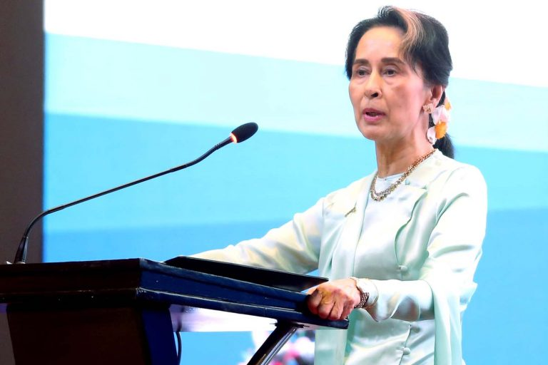 State Counsellor Daw Aung San Suu Kyi delivers the opening speech during the Myanmar-Japan-US Forum on Fostering Responsible Investment in Yangon on August 20, 2019. (AFP)