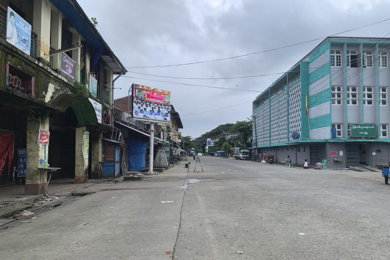 A deserted main street in the Rakhine State capital of Sittwe is pictured on August 23. Statewide stay-at-home orders to prevent the spread of COVID-19 have made campaigning difficult in the state, and near impossible in northern townships where severe restrictions on internet access have been in place for more than a year. (AFP)