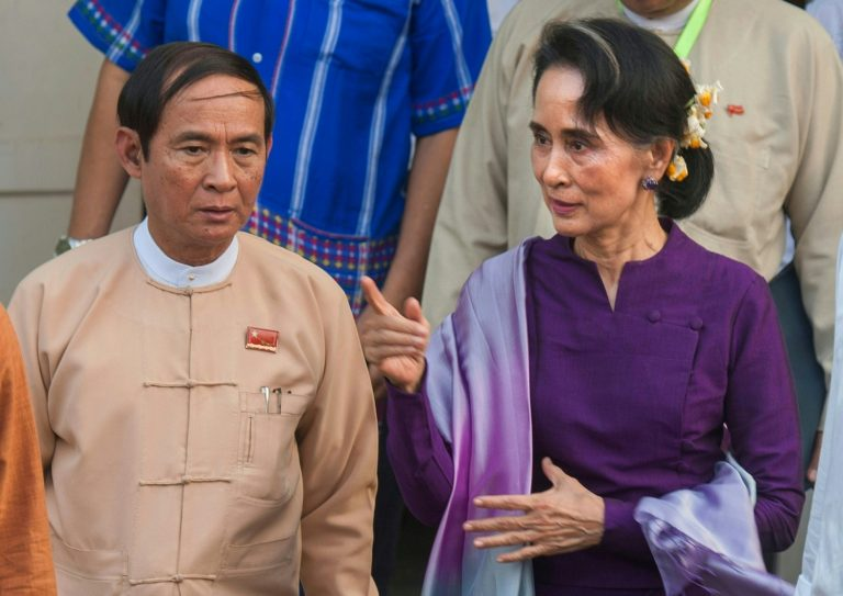 Daw Aung San Suu Kyi and U Win Myint, who were both detained by the military in the February 1 coup. (AFP)