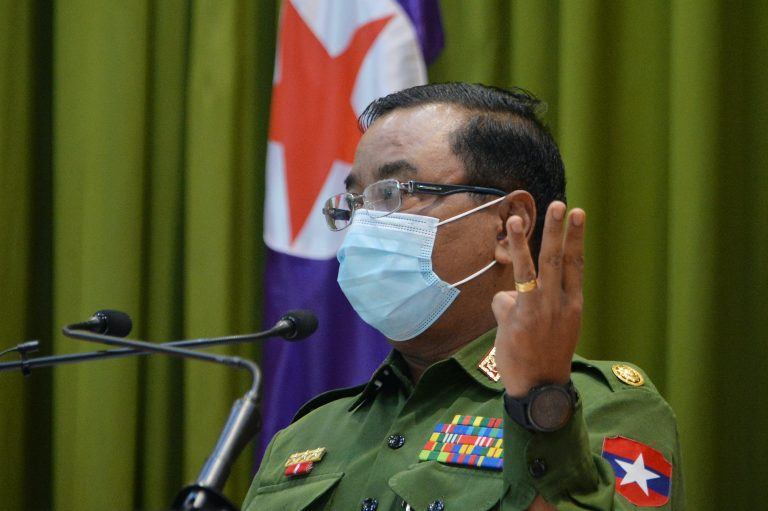 Tatmadaw spokeperson Brigadier-General Zaw Min Tun speaks during a press briefing at the Defence Service Museum in Nay Pyi Taw on January 26. (AFP)