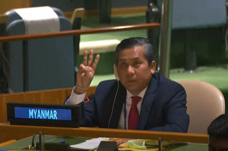Myanmar's ambassador to the United Nations U Kyaw Moe Tun gives a three-finger salute as he addresses an informal meeting of the UN General Assembly on February 26 in New York. (AFP/United Nations via YouTube)