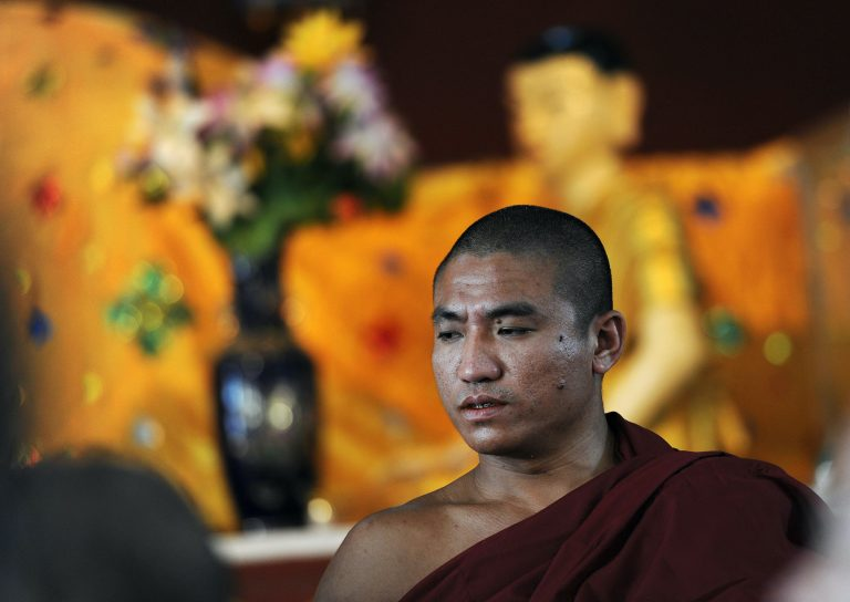 Myanmar dissident Buddhist monk Gambira attends a ceremony at a Yangon monastery on February 19, 2012. (AFP)