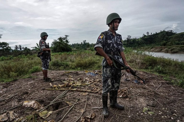 Border Guard Police stand guard in Rakhine State. (AFP)